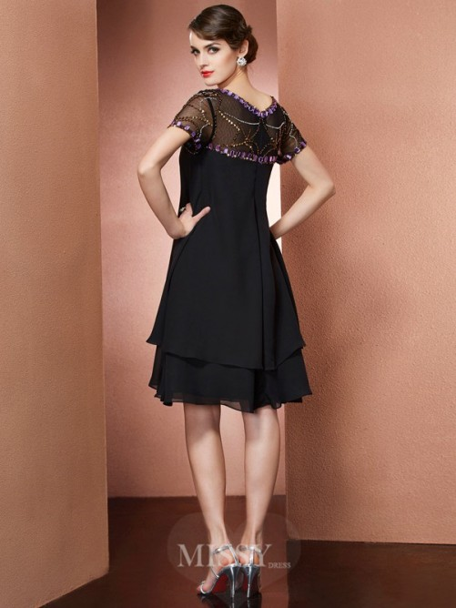 A-Line Scoop Short Sleeves Beading Chiffon Knee-Length Dress