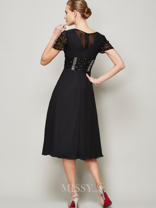A-Line Chiffon V-neck Short Sleeves Ruffles Knee-Length Dress