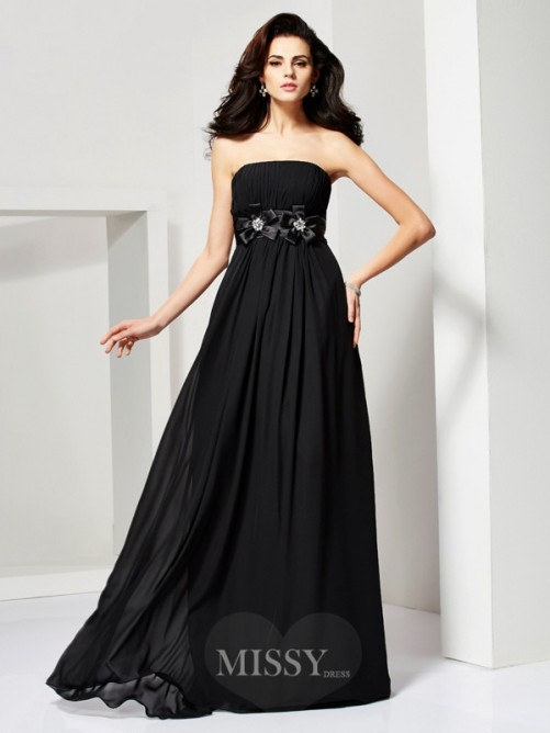 A-Line Sleeveless Strapless Hand-Made Flower Chiffon Dress