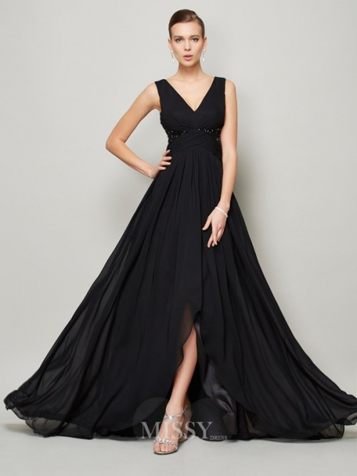 A-Line Sleeveless Beading V-neck Floor-length Chiffon Dress