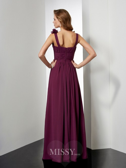 A-Line Hand-Made Flower Straps Sleeveless Floor-Length Chiffon Dress