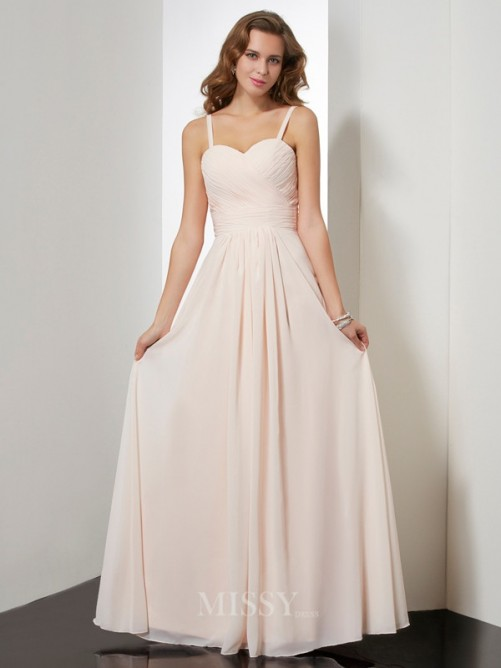 Sheath Sleeveless Spaghetti Straps Ruffles Floor-length Chiffon Dress