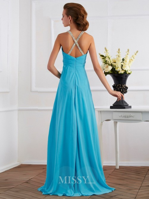 Empire Halter Sleeveless Beading Floor-length Chiffon Dress