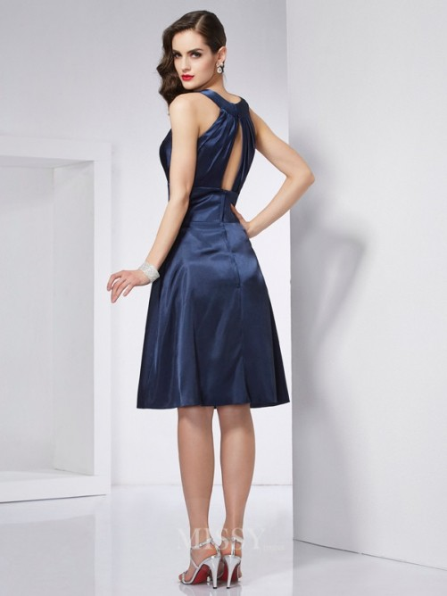 A-Line Scoop Sleeveless Pleats Knee-Length Elastic Woven Satin Dress
