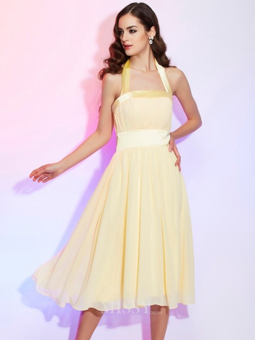 A-Line Knee-Length Halter Pleats Sleeveless Chiffon Dress