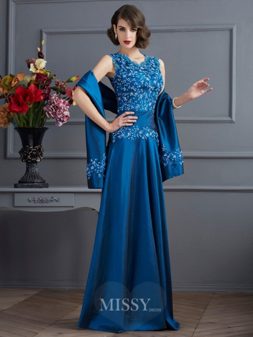 A-Line V-neck Sleeveless Applique Beading Floor-Length Taffeta Dress