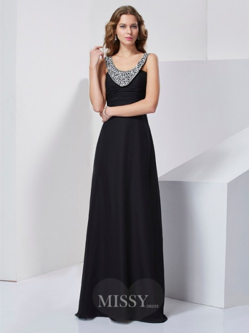 Beading A-Line Scoop Sleeveless Chiffon Floor-Length Dress