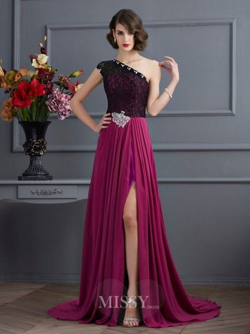 A-Line One-Shoulder Sleeveless Sweep/Brush Train Chiffon Dress