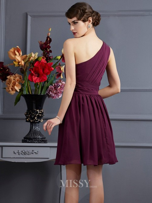 A-Line Sleeveless One-Shoulder Pleats Mini Chiffon Bridesmaid Dress