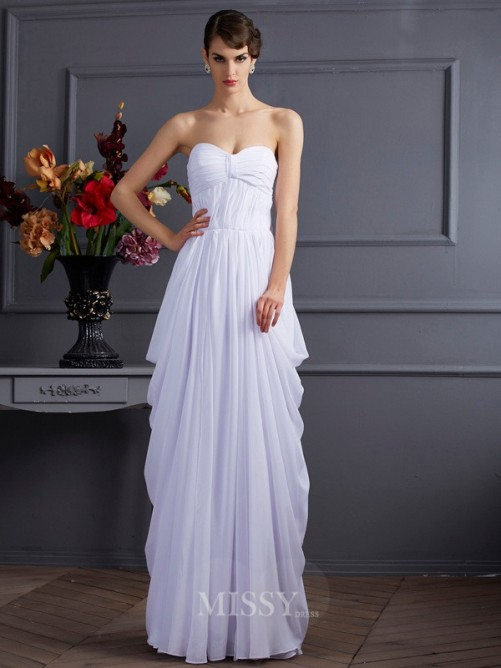 Sheath Pleats Sleeveless Chiffon Sweetheart Floor-Length Dress