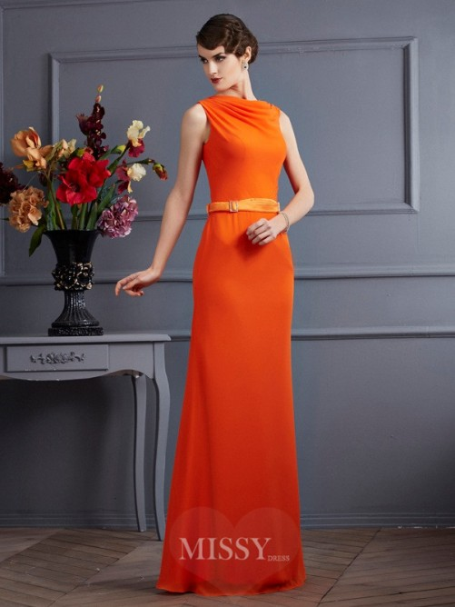 Sheath Chiffon High Neck Sleeveless Sash/Ribbon/Belt Floor-Length Dress
