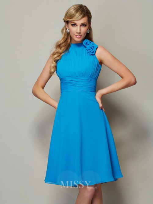 A-Line High Neck Sleeveless Pleats Knee-Length Chiffon Bridesmaid Dress
