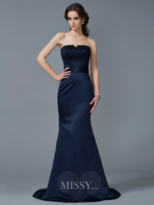 Mermaid Strapless Sleeveless Beading Sweep/Brush Train Satin Dress