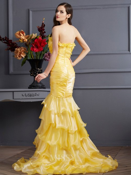 Mermaid Strapless Sleeveless Ruffles Sweep/Brush Train Tulle Dress