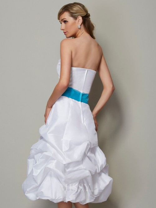 A-Line Strapless Sleeveless Tea-Length Taffeta Dress