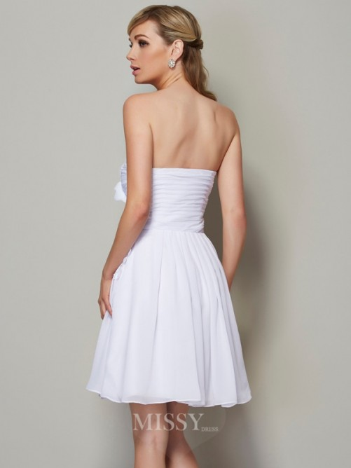 A-Line Strapless Applique Sleeveless Pleats Chiffon Mini Dress