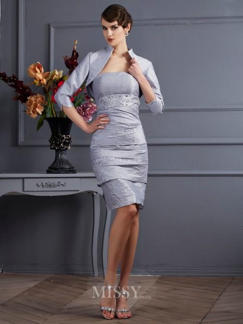 Sheath Taffeta Strapless Sleeveless Knee-Length Dress