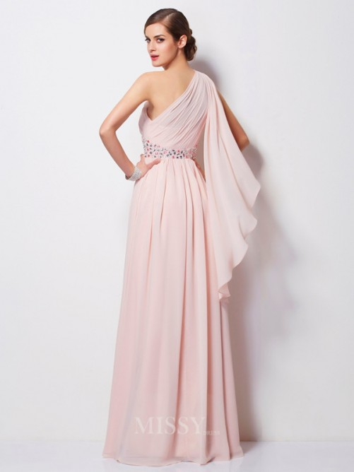 Sheath One-Shoulder Sleeveless Beading Floor-Length Chiffon Dress