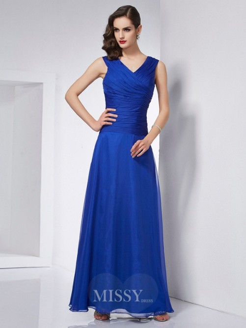 A-Line V-neck Sleeveless Pleats Ankle-Length Chiffon Dress
