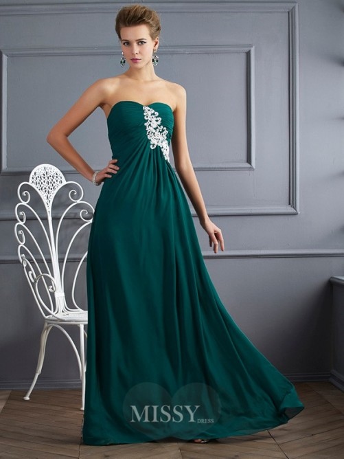Sweetheart Sheath Sleeveless Beading Floor-length Chiffon Dress