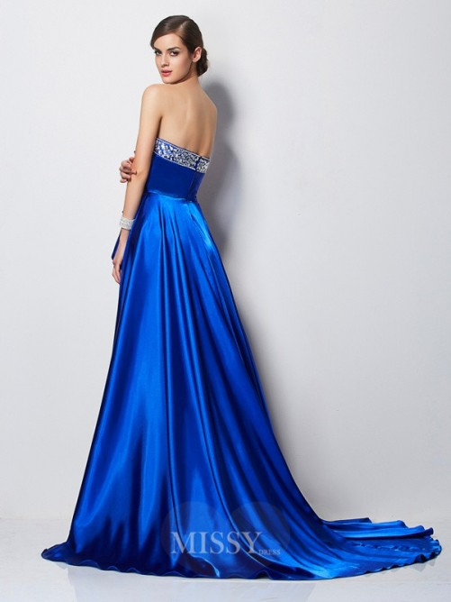 A-Line Sweetheart Sleeveless Beading Elastic Woven Satin Dress