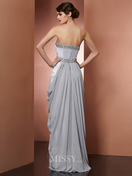 Sheath Strapless Beading Sleeveless Floor-Length Chiffon Dress