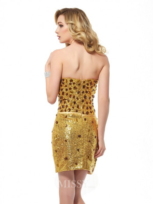 Sweetheart Sheath Sleeveless Sequins Mini Dress
