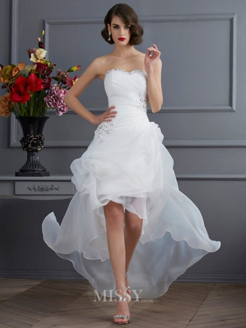 A-Line Sweetheart Sleeveless Applique Organza Asymmetrical Wedding Dress