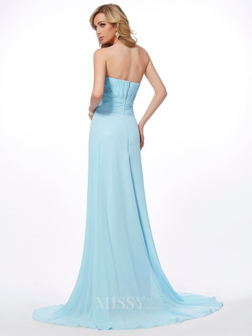 A-Line Sweetheart Sleeveless Beading Chiffon Sweep/Brush Train Dress
