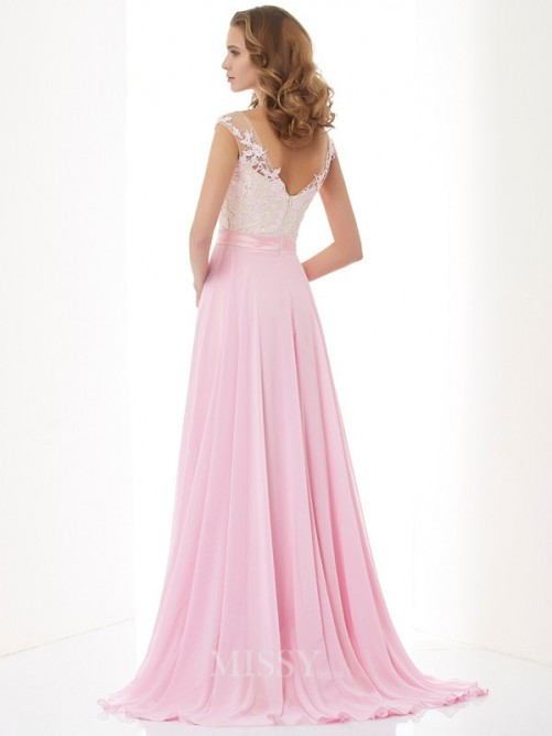 A-Line Scoop Applique Beading Chiffon Sweep/Brush Train Dress