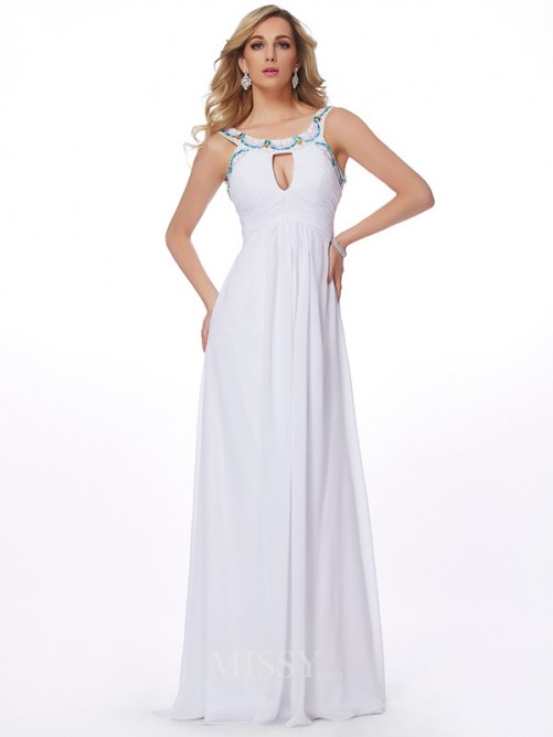Sheath Scoop Beading Sleeveless Chiffon Sweep/Brush Train Dress