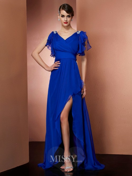 Sheath V-neck Sleeveless Beading Asymmetrical Chiffon Dress