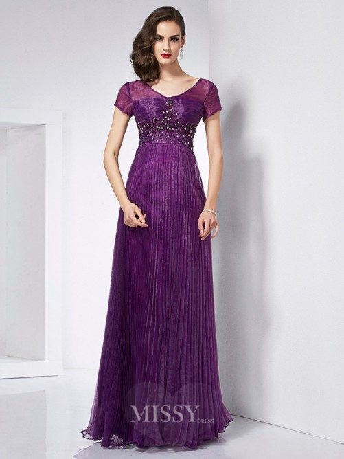 A-Line V-neck Short Sleeves Beading Organza Floor-Length Dress