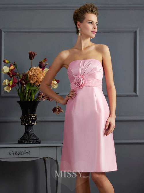 Sheath Strapless Sleeveless Beading Knee-Length Taffeta Dress