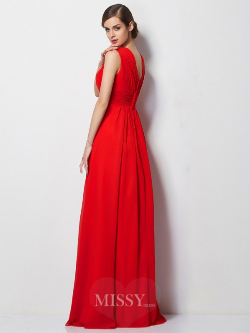Sheath V-neck Short Sleeves Beading Chiffon Floor-Length Dress