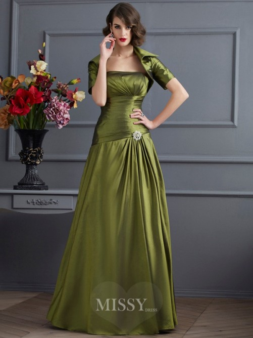 A-Line Strapless Sleeveless Pleats Floor-Length Taffeta Dress