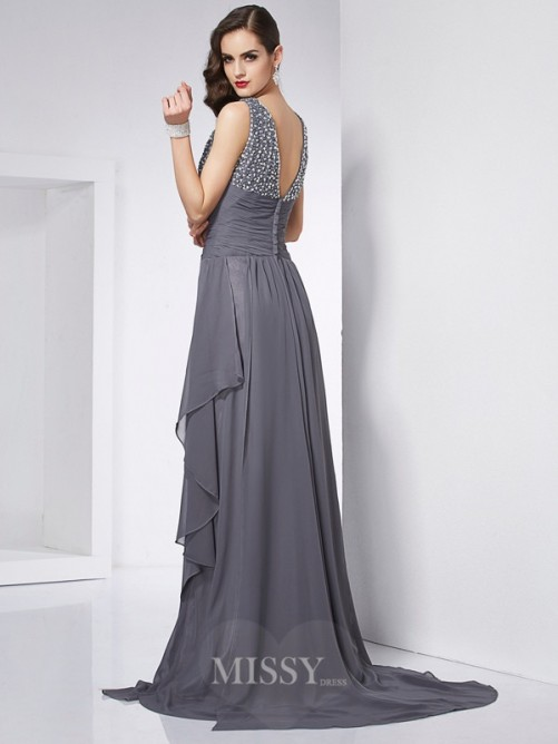 A-Line Jewel Sleeveless Beading Chiffon Sweep/Brush Train Dress