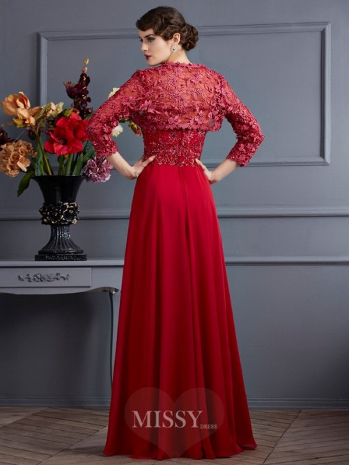 A-Line Sleeveless Sweetheart Floor-Length Applique Chiffon Mother of the Bride Dress