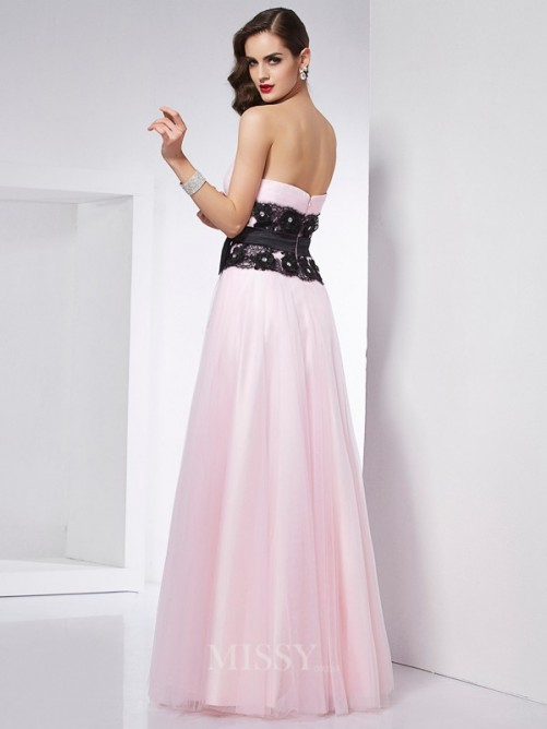 A-Line Sweetheart Sleeveless Floor-Length Lace Satin Dress