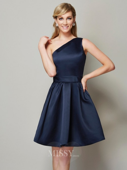 A-Line One-Shoulder Sleeveless Satin Mini Bridesmaid Dress