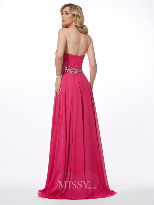 A-Line Sweetheart Pleats Sleeveless Floor-Length Chiffon Dress