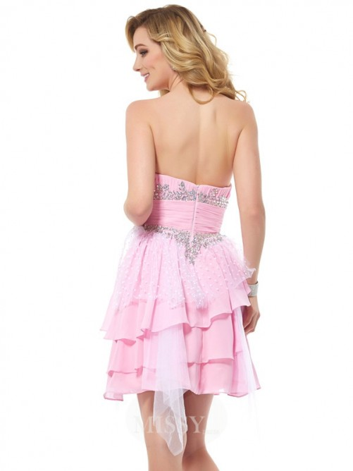 A-Line Chiffon Sweetheart Beading Sleeveless Mini Dress