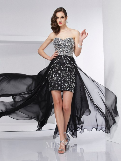 A-Line Sleeveless Beading Sweep/Brush Train Chiffon Dress
