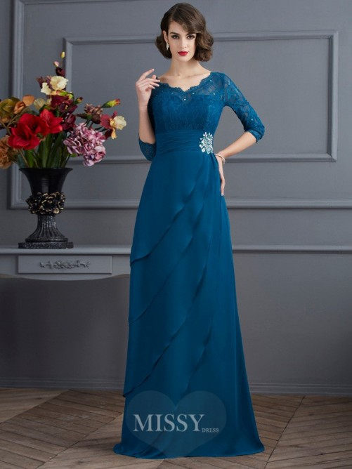 A-Line V-neck 3/4 Sleeves Floor-Length Chiffon Dress