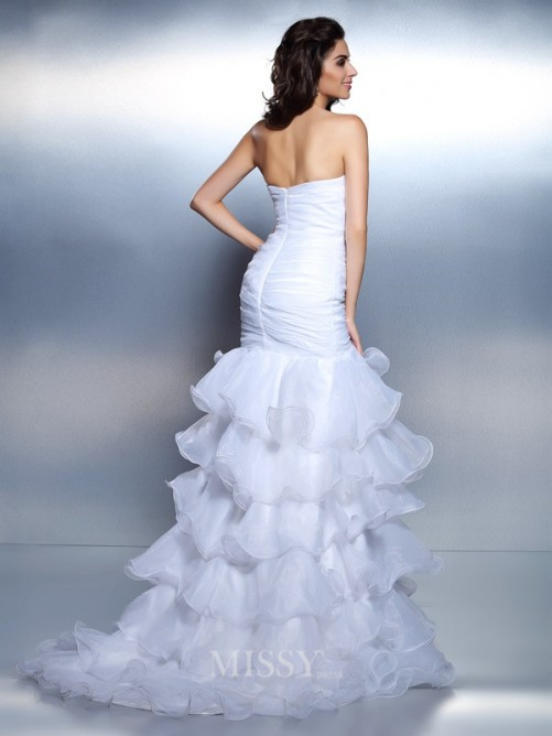 Trumpet/Mermaid Strapless Sleeveless Beading Ruched Floor-Length Organza Dresses