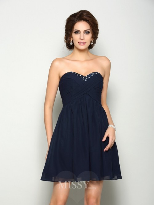 A-Line/Princess Sleeveless Beading Sweetheart Short/Mini Chiffon Dress