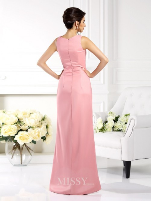 Sheath/Column Square Sleeveless Floor-Length Elastic Woven Satin Mother of the Bride Dress