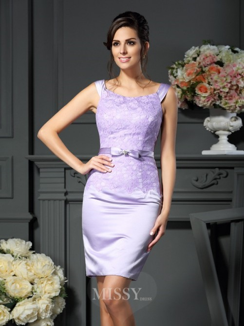 Sheath/Column Sleeveless Scoop Bowknot Short/Mini Satin Mother of the Bride Dress