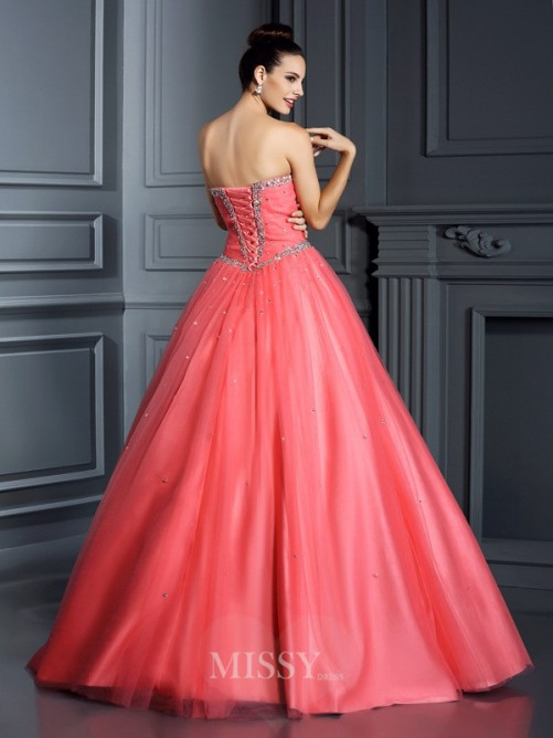 Ball Gown Sleeveless Sweetheart Beading Floor-Length Net Quinceanera Dresses