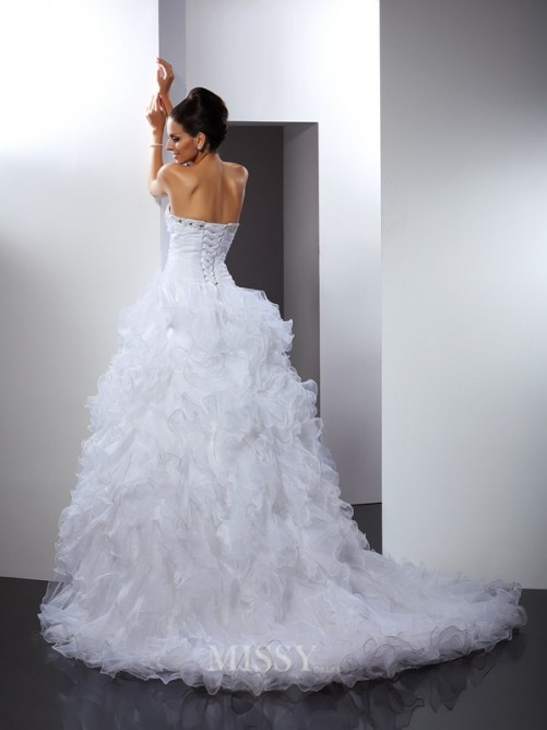 Ball Gown Sleeveless Sweetheart Beading Cathedral Train Organza Wedding Dress